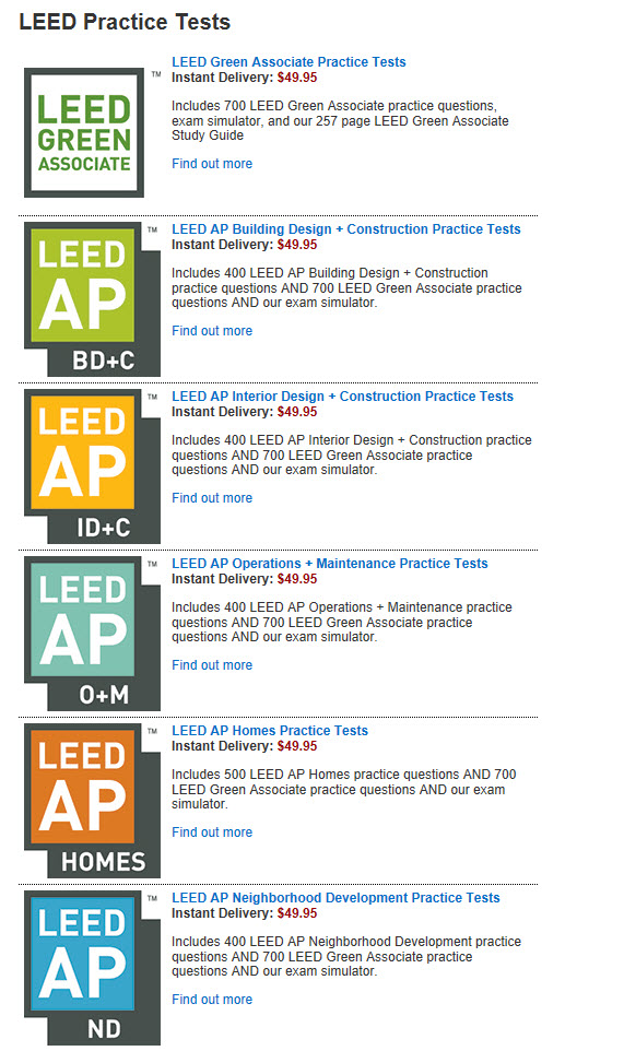 Check out the Full List of LEED AP and GA training materials and study guides